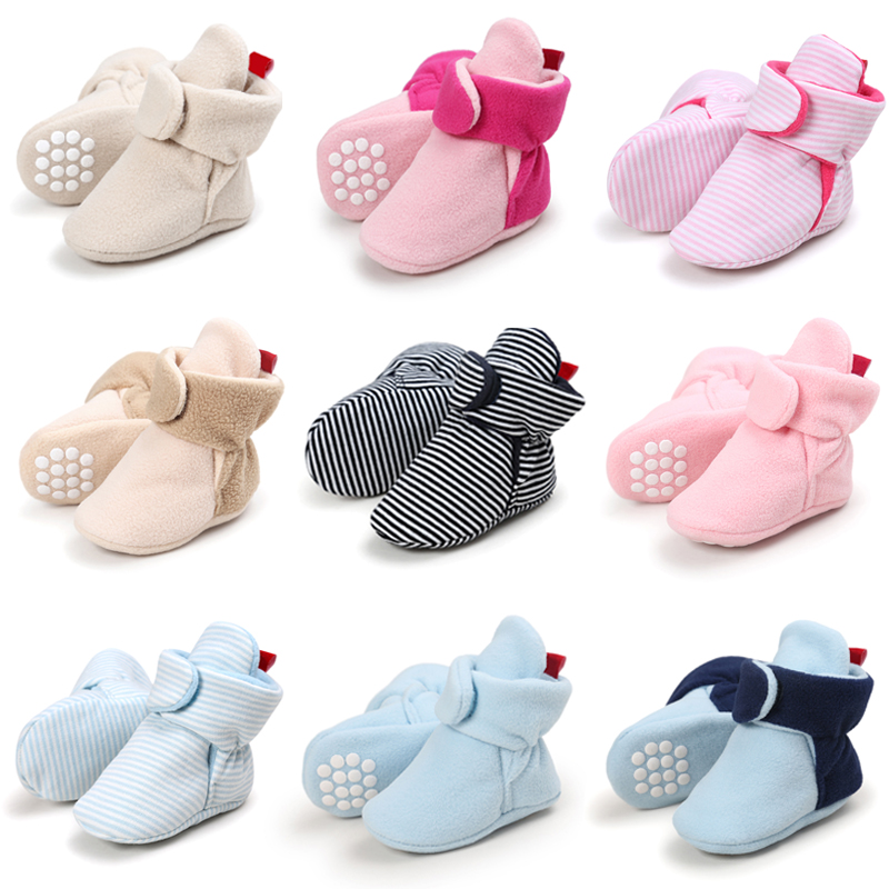 Newborn Baby Girl Shoes Winter Keep Warm Faux Fleece Baby Toddler Boots Hoop & Loop Soft Sole Snowfiled Booties Size 1 2 3