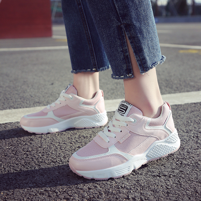 Womens fashion 2018 Summer white pink sneakers ladies tenis feminino light breathable shoes for Woman basket femme Z25