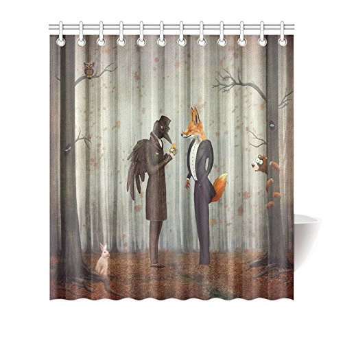 Shower Curtain Hooks Orange Fabric Fairy Tales Raven And Fox In A Dark Forest Looking At