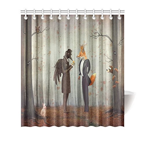 Shower Curtain Hooks Orange Fabric Fairy Tales Raven And Fox In A Dark Forest Looking At The Watch With Rabbit Owl Bear Autumn