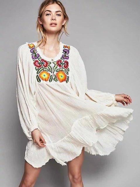 2018 Europe Spring Loose Embroidery Large Hem Dress Women S Hot Elegant Casual Dresses Bohemian Style Fall