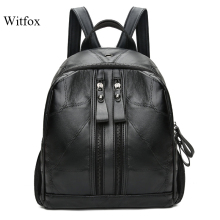 Leather women backpack genuine leather sheepskin book shell for girls colorful travel bag package sac transport collage students
