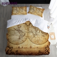 AHSNME Dream of sailing Yellow Brown World Map Quilt Cover Painting Home Textile Products Adapts to US and Australian size