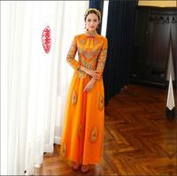 China vestido de Noiva noiva cheongsam Asiático Característica de manga comprida Laranja retro brinde roupas vestido de noiva Chinês No Exterior