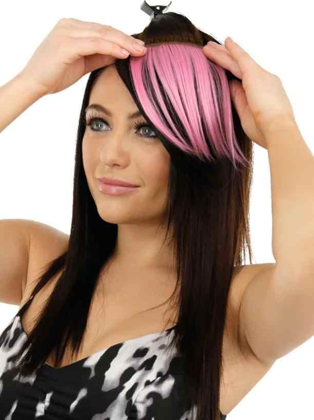 Wanita Rambut Styling Cantik Gadis Klip Di Klip Di Depan Rambut Bang Pinggiran Potongan Rambut Ekstensi 2U1016 Tipis