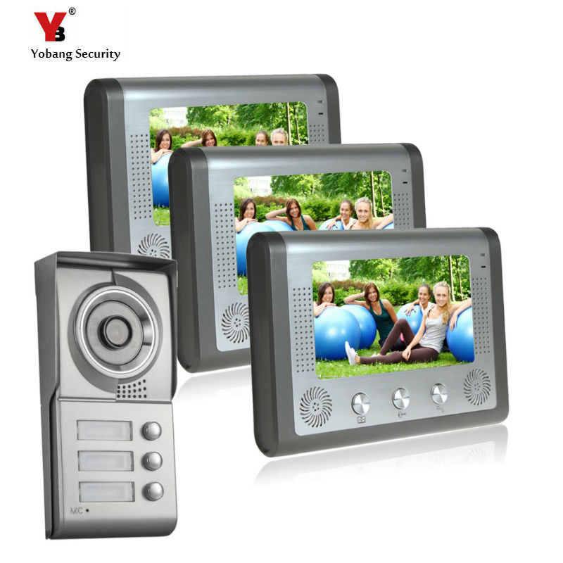 Yobang Security 7multi apartments intercom system for 3 floor user villa doorphone door Video intercom 1 camera and 3 monitors rfid keyboard ip65 waterproof video doorphone intercom system for 3 apartments with 7 color lcd video intercom system in stock