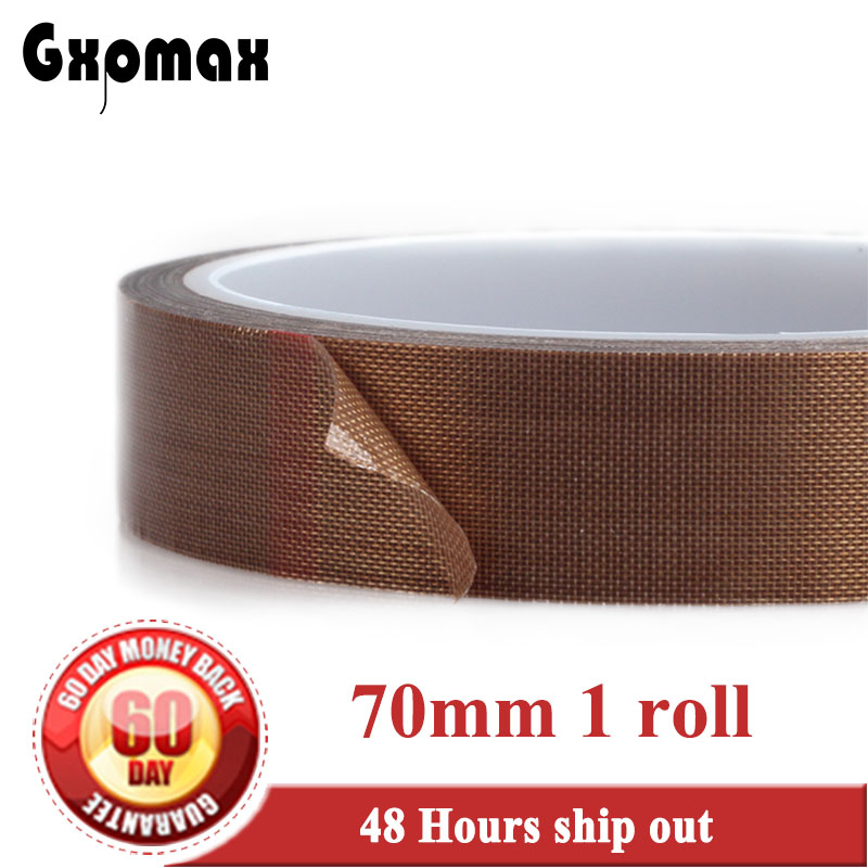 (70mm*10M*0.13mm) Adhesive PTFE Teflon Tape, High Temperature Resist up to 300C, Heat Insulation for Packing Cutting Sealing