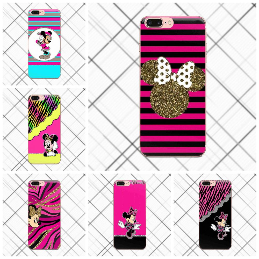 Striped Lovely Mickey Minnie Mouse For Sony Xperia Z Z1 Z2 Z3 Z4 Z5 compact Mini Premium M2 M4 M5 T3 E3 E5 XA TPU Design Phone