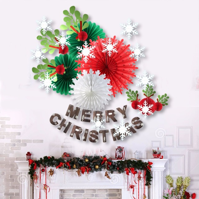 13pcs merry christmas party decorations tissue paper fan christmas party decorations diy christmas party favors for