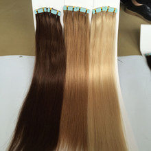 Double Drawn European Virgin Human Hair Extensions Skin Weft Color #1 #2 #4 #6 #8 #27 #30 #613 PU Tape Hair Weft For Women(China)