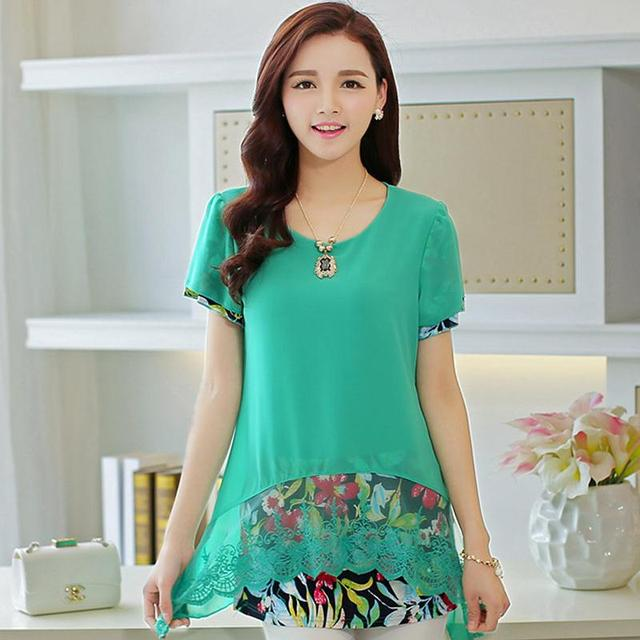 63814979ca4bd Women Tops 2015 Summer Style Korean Fashion Loose Large Plus size Candy Color  Mint Green Prints Chiffon Lace Long Shirts Blouses