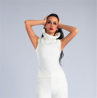 Top Quality White Elegant High Collar Women's Club Party Tops Fashion Tanks Best Match