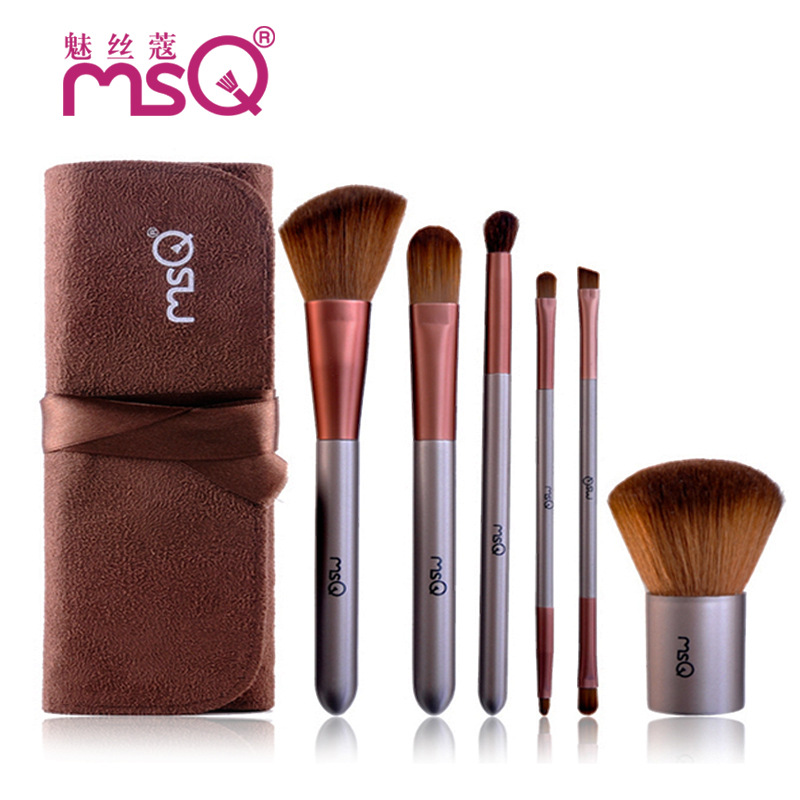 Brand Soft Synthetic Hair Make Up Tools 6Pcs/Kits Foundation Fiber Face Cosmetic Beauty Makeup Brush Brown Sets Leather Case Hot