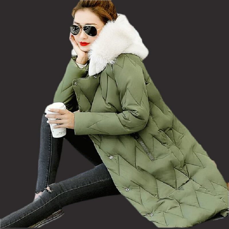 Female jacket new women winter jacket 2017 Korean women in the long paragraph thickening rabbit fur collar big size down jacket edition in the fall of new women s wear long sleeved sweater knit render unlined upper garment female hedge brief paragraph