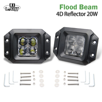 CO LIGHT Led Working Lights 2 Pieces 20W Spot Flood Beam DRL For Jeep Wrangler Jk