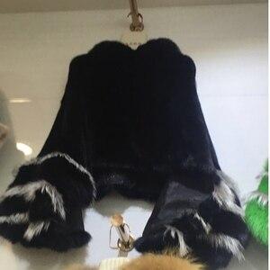 Image 5 - Mode luxus frauen echten full pelt nerz poncho mit fuchs pelz manschette 100% echtpelz hohe kragen pullover schals und wrap mantel