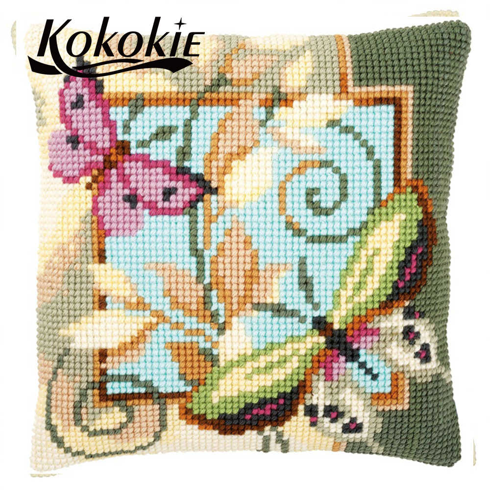 Butterfly Latch Hook Kits DIY Crocheting Embroidery Throw Pillow Needlework Cross Stitch Kits