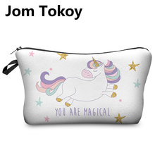 Jom Tokoy 3D Printing Unicorn Makeup Bags Multicolor Pattern Cute Cosmetics Pouchs For Travel Ladies Pouch Women Cosmetic Bag