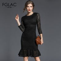 FGLAC Women Dress New Arrivals 2018 Spring Fashion Casual Vintage Dress Elegant Slim Hollow Out Lace