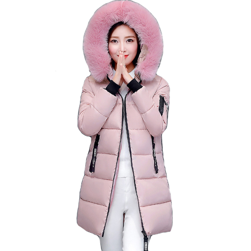 2018 hooded plus size 3XL long women winter jacket with fur collar warm thick parka cotton padded female fashion womens coat yi la 2017 new winter fur collar hooded down cotton coat fashion women s long coat cotton warm jacket parka plus size 3xl s869
