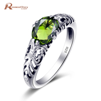 USA Classic Luxury Handmade 925 Sterling Silver Rings Vintage Style Olivine Peridot Rings for Women Creed Ring Wedding Gift