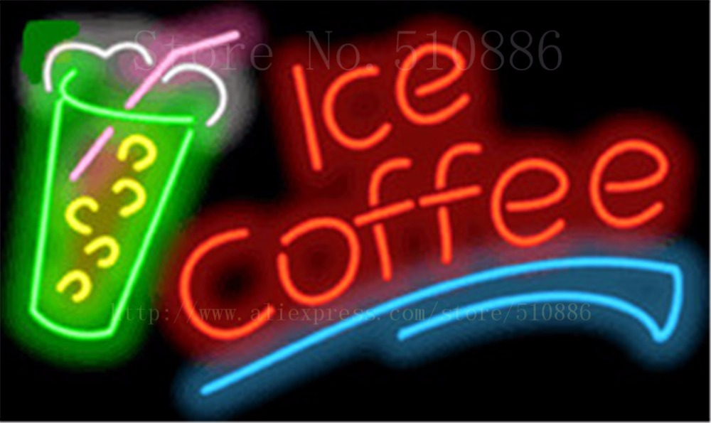 """Ice Coffee Drinks Neon sign Glass Tubes Light Bar Beer Club Custom Neon signs Bulb Store Decoration Signboard signage 17""""x14"""