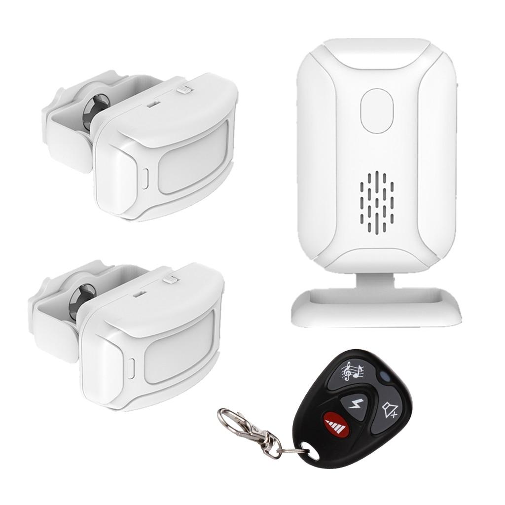 Accueil magasin magasin à distance sans fil PIR détecteur de mouvement porte cloche porte entrée bienvenue carillon sonnette alarme antivol avec 2 capteurs - 1