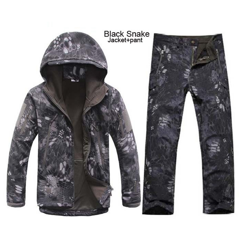 Solid Color Tactical Men Women Waterproof Sharkskin Softshell Outerwear Military Clothing Jacket Set Army Jacket Coat + Pants