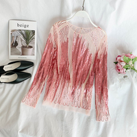 Women Elegant Sequins Shirt Pink Hand beaded Feather Tops Vintage Sequin Fashion Blouse E363