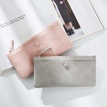 2017 новое поступление модные женские кошельки Марка Длинный кошелек из искусственной кожи сплошной цвет высокое качество тонкие молнии кошельки для женщин