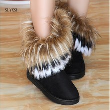 SLYXSH Women Snow Boots Plus Size Faux Fur Winter Ankle Boots Sewing Flats Female Comfort Footwear Platform Shoes(China)