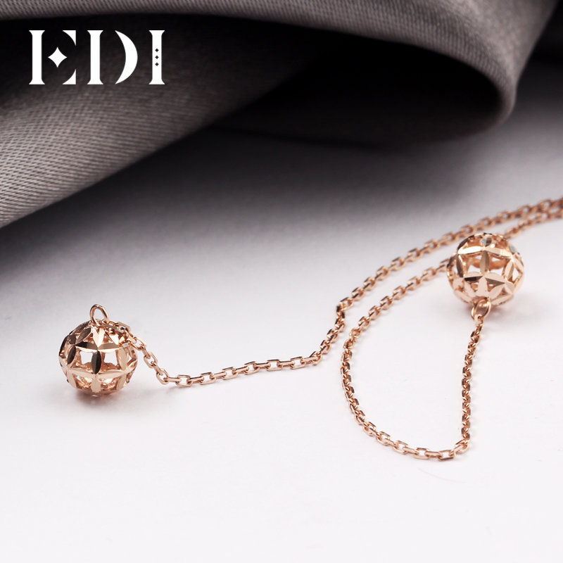 EDI Real Pure 18K Rose Gold Drop Earrings Simple OL Style Hollow Ball Long Tassel earrings For WomenEDI Real Pure 18K Rose Gold Drop Earrings Simple OL Style Hollow Ball Long Tassel earrings For Women