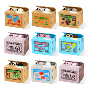 Cat Piggy Bank Coin Box Dog Deposit Saving Money Safe Box Electronic Cash Plastic Safety Deposit Box for Children Kid Home C001(China)