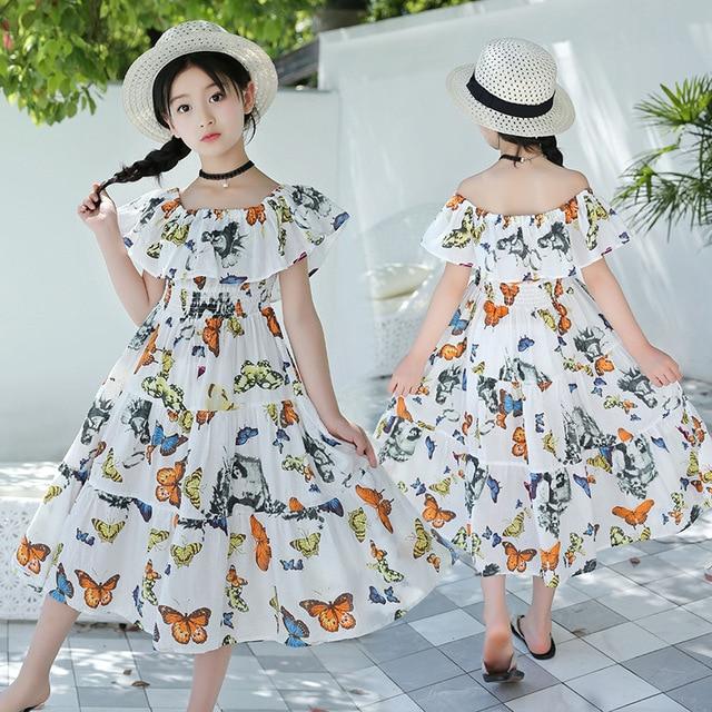 616151a5b2163 Girls Summer Beach Dress 2019 Floral Maxi Dress Ruffle Sundresses WHITE  Flower Long Dress For Vacation Cotton Kids Girl Clothes