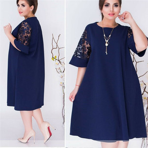 Women Sexy Crew Neck Lace Short Sleeve Summer Dress Ladies Loose Casual Dresses Female Solid Color Dresses Plus Size XL-6 XL(China)