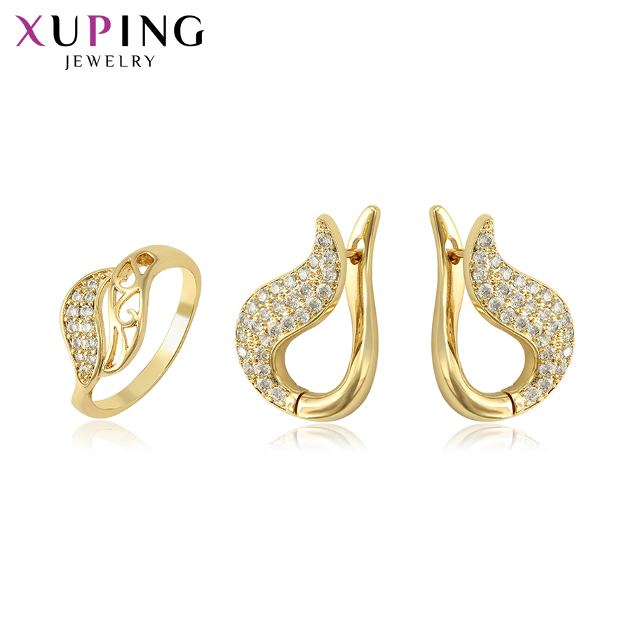 Xuping Fashion Jewelry Elegant Light Yellow Gold-color Plated Jewelry Sets for Women Christmas Party Gift S118.3/4-65234