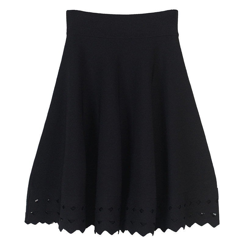 2018 Winter Spring New Fashion Women Knitted Skirts Hollow Out Bottom Simple Black Skirt Above Knee Pleated Mini Skirts