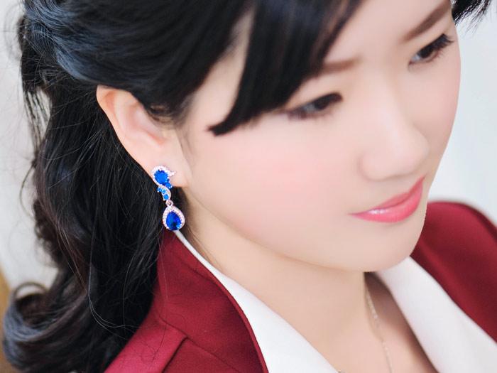 Boucles d'oreilles en cristal de mariage pour femmes longues boucles d'oreilles coréenne femme tempérament mode boucle d'oreille mariée mariage bijoux personnalisés rouge - 5