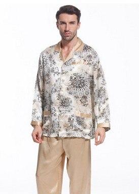 Primavera e autunno pigiama di seta 100% di gelso seta e seta vestito a due  pezzi maniche lunghe in Primavera e autunno pigiama di seta 100% di gelso  seta e ... 0bca3189ac8