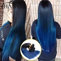 Straight Ombre Human hair bundles 3pcs1B#blue Remy Hair Extensions ombre weave 2 Tone Blue Weft HANNE Colorful Hair Products
