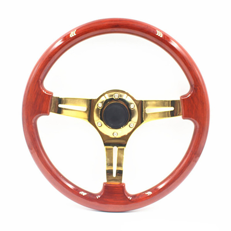 Deep dish abs wooden steering wheel 14inch 35cm gold for Benetton 4 wheel steering
