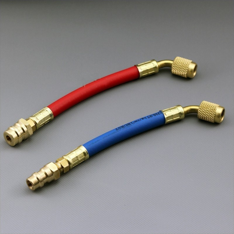 Fixmee 1/4 SAE R12 to R134a Flex Hose Adapter Set Use R134a Gauges Red High Pressure zenta flex z0701 r