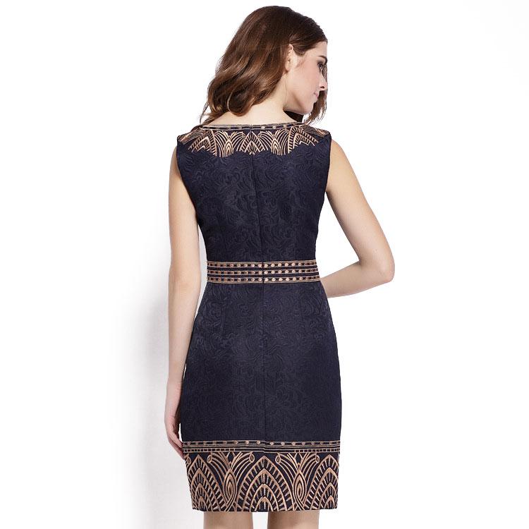 Embroidery Print Sleeveless Slim Waist Office Dress 2