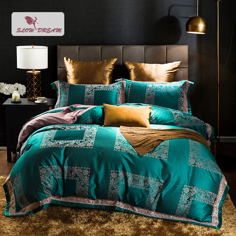 SlowDream Green Bedding Set Lace Bedspread Bed Linen Euro 100% Cotton Double Queen King Size Silk Duvet Cover Set Adult Home BedSlowDream Green Bedding Set Lace Bedspread Bed Linen Euro 100% Cotton Double Queen King Size Silk Duvet Cover Set Adult Home Bed
