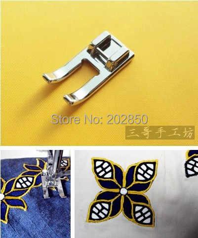 Детали домашней швейной машины, Лоскутная и вышитая Лапка, # 718-L, металлическая открытая ножка, для Brother, Janome, Singer, Feiyue...