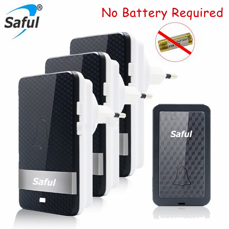 Saful Self-powered Waterproof Long Distance 28 Melody LED Wireless Door Bell Electronic DIY Kit Led Doorbell With 3 Receivers 1 transmitters 3 receivers digital self powered doorbell wireless remote long distance ac220v no need battery door bell 1v3