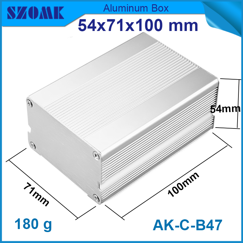 1 piece aluminum extrusion szomk enclosure electronics case 54.2*70.8*100MM  1.78*2.79*3.94inch 1 piece light grey aluminum extrusion profiles heatsink wall mounted distribution case 24x80x90mm