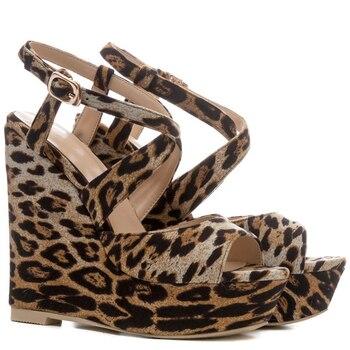 bajo precio 0dc6d 44ca6 Cocoafoal verano mujeres cuñas sandalias tacones altos Mujer tacones  leopardo Zapatos Peep Toe mujeres Sandalias Zapatos Mujer