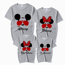 Family Matching Outfits Mouse Print T-Shirt Mommy Daddy Kid Son Baby Girl Family Clothes Child T-Shirt Letter Print Tops kid outfits round neck letter pattern tops in grey