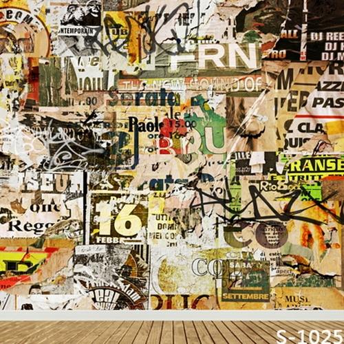 Graffiti Art Wallpapers Group 71: 10x10FT Newspaper Headline News Vintage Graffiti Wall